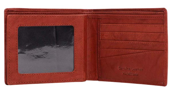 Red Mens Bifold Wallet