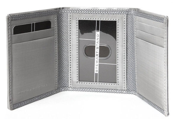Silver Tri Fold Leather Wallet